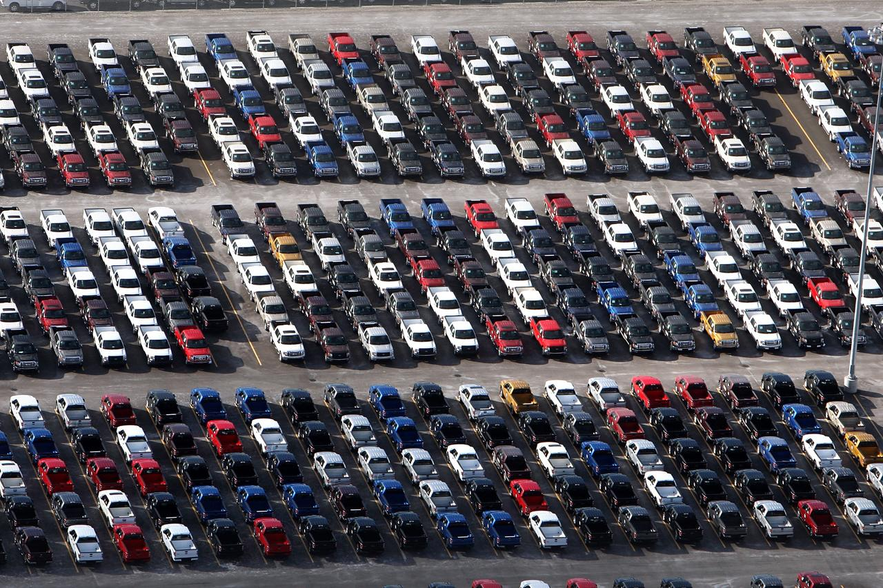 The true state of the world economy. Unsold cars piling up.