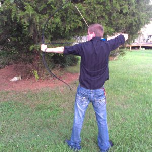Me and my friend shooting our bows